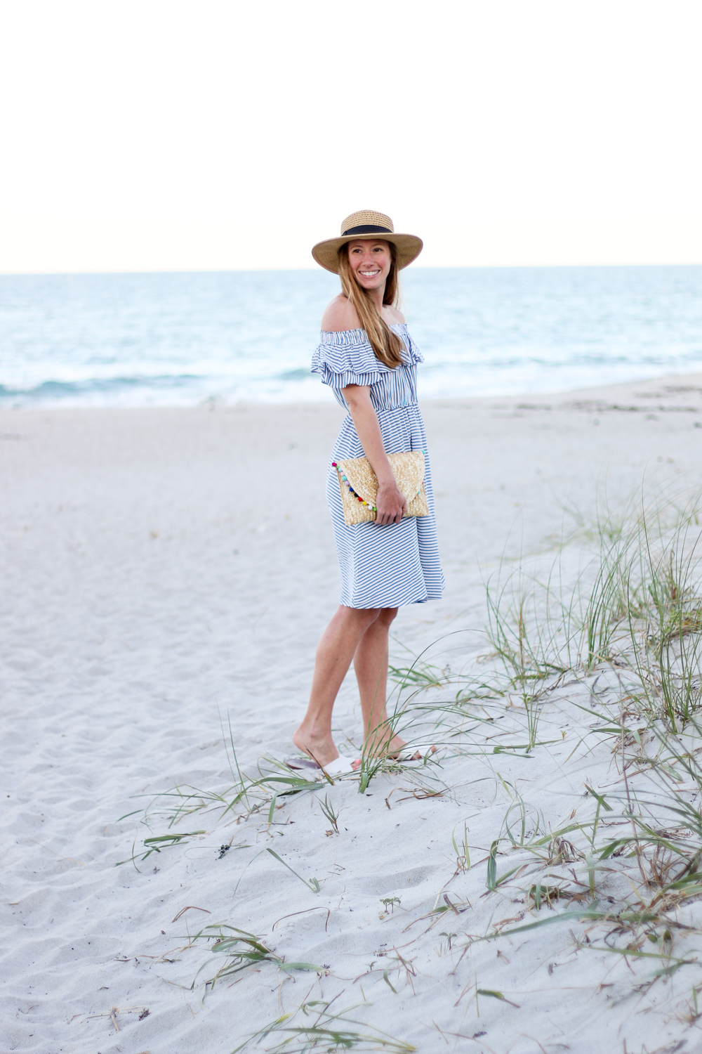 how to style an off the shoulder striped dress