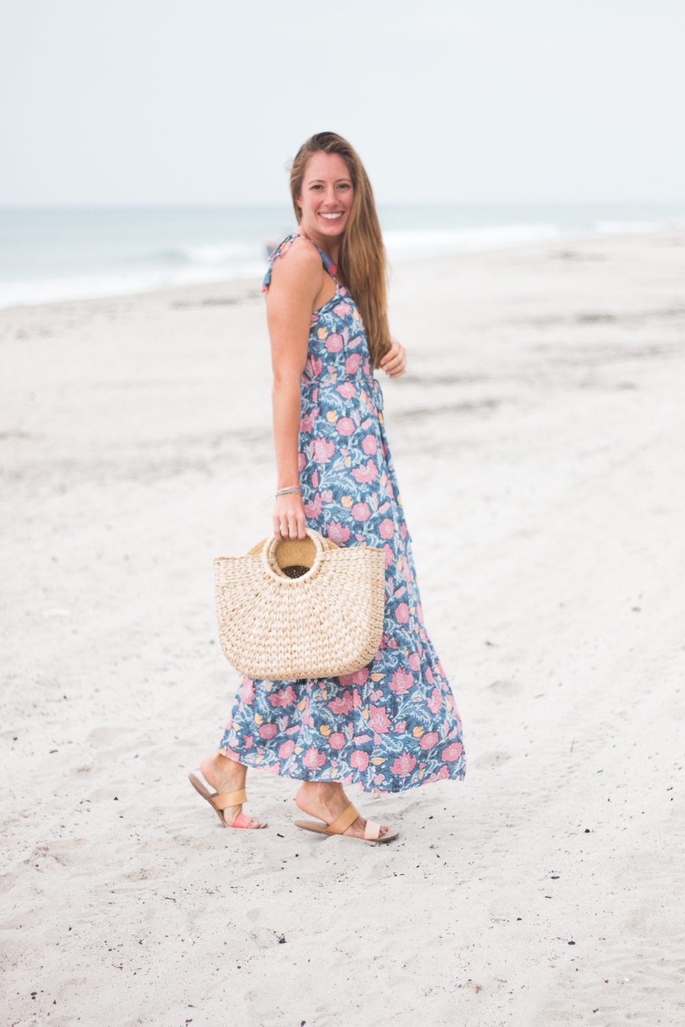 Floral Maxi Dress and Straw Bag