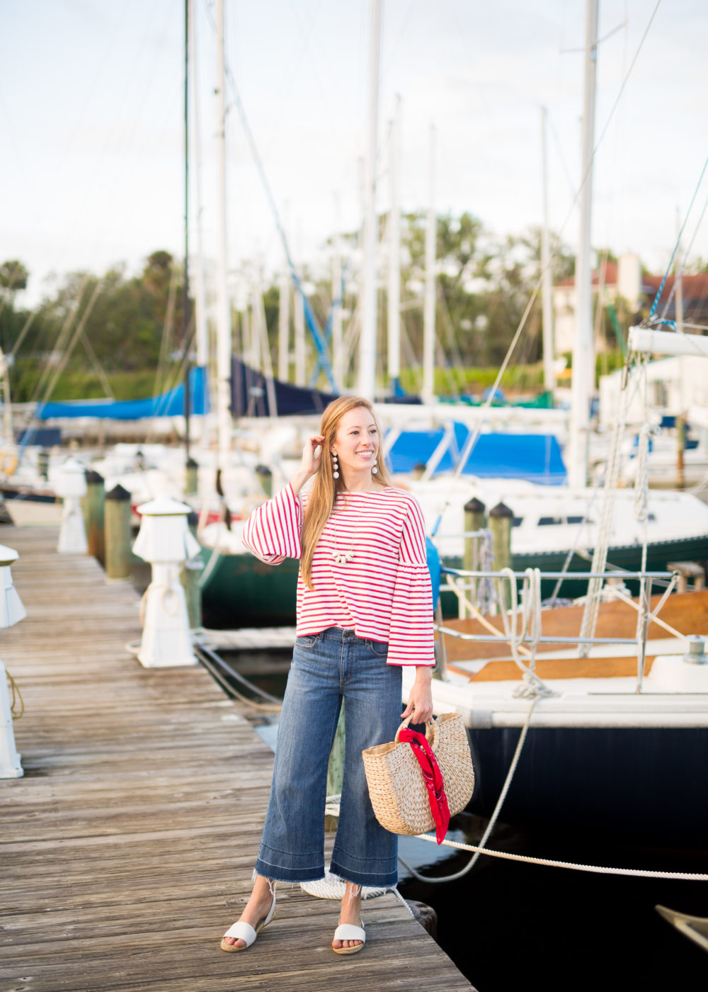 A Classic Striped Look for Fall, Wearing Wide Leg Pants + Striped Top | Sunshine Style