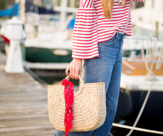 straw bag and scarfs