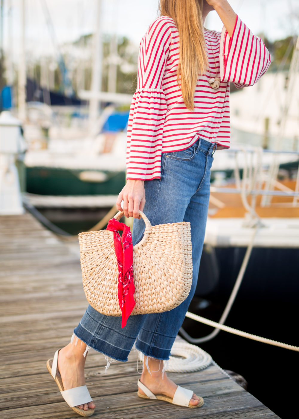 A Classic Striped Look for Fall, Wearing Wide Leg Pants + Striped Top + Straw Bag with Bandana | Sunshine Style