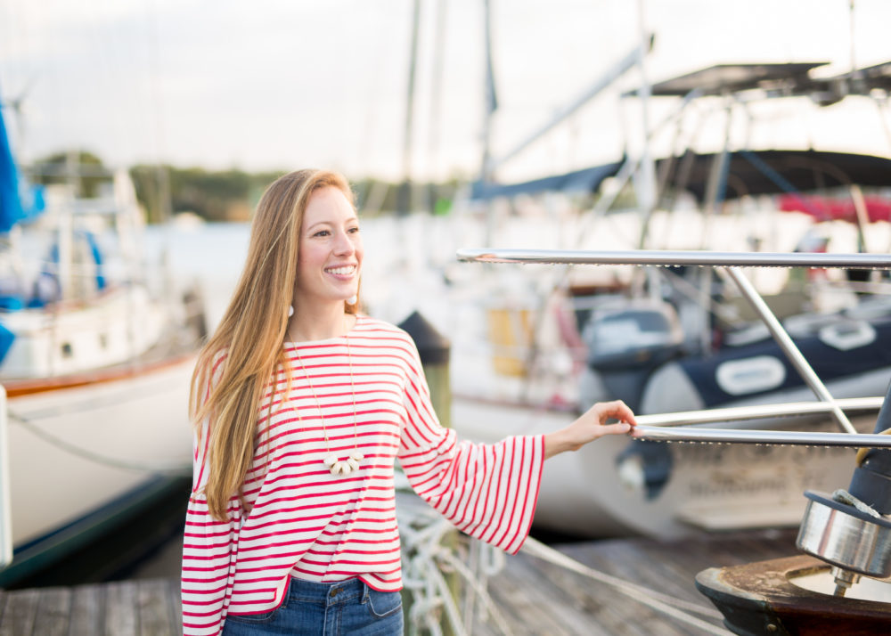 Striped Top in Marina, Coastal Outfit Inspiration | Sunshine Style