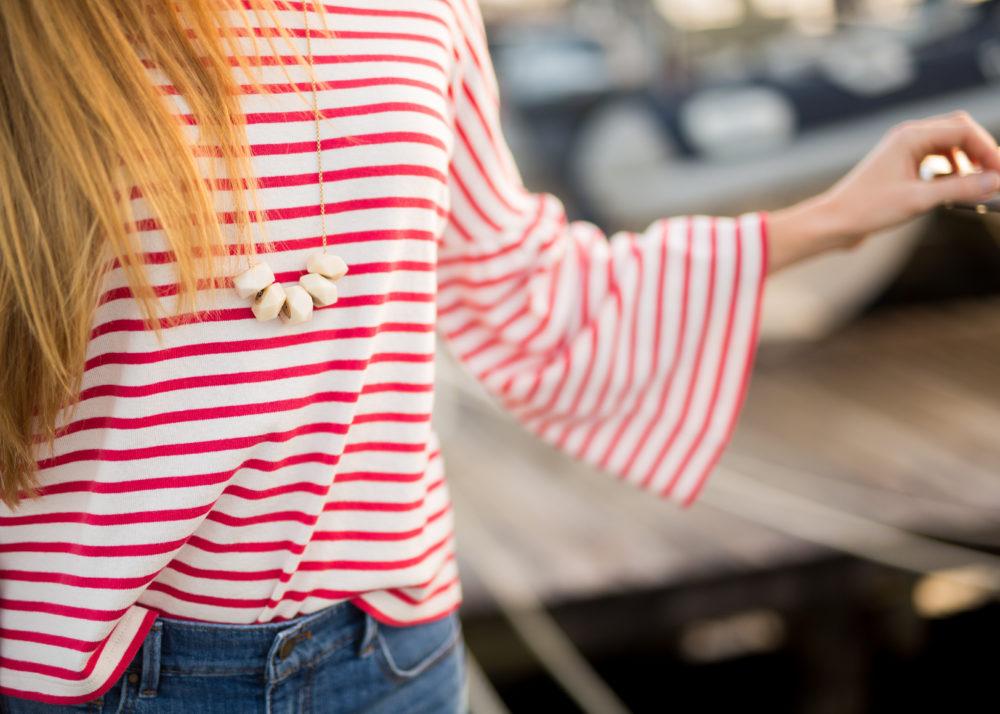 A Classic Striped Look for Fall, Natalie Borton Necklace + Striped Top | Sunshine Style