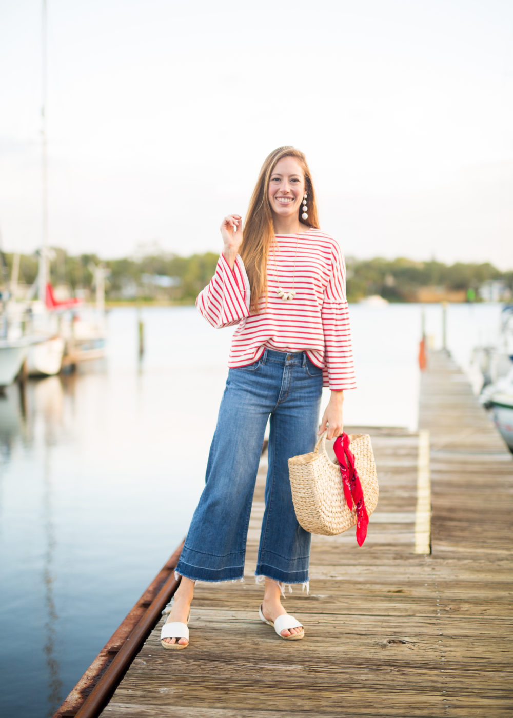 Classic Fall Outfit, Wearing Striped Top, Wide Leg Pants and Straw Bag | Sunshine Style