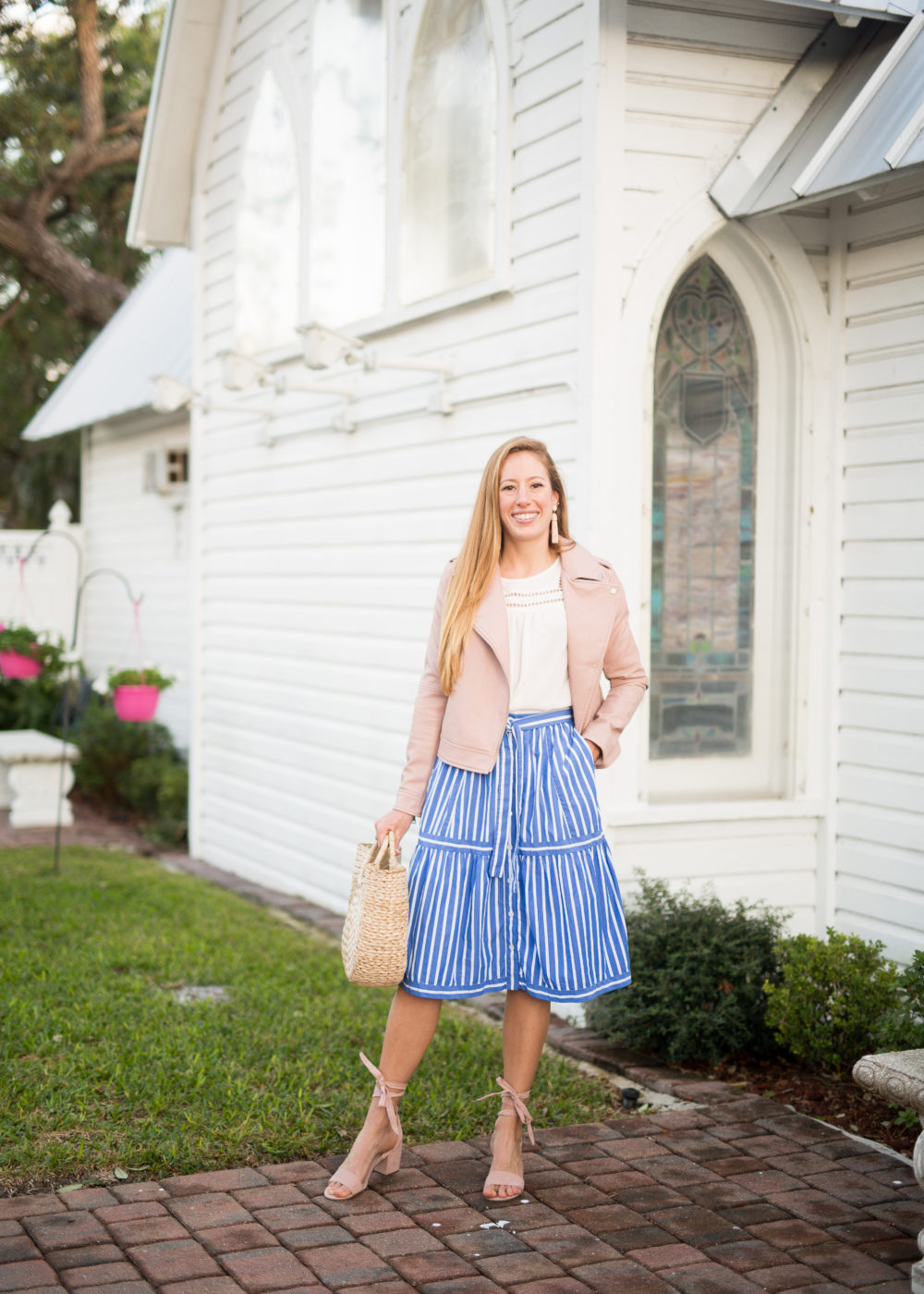 striped midi skirt and pink jacket