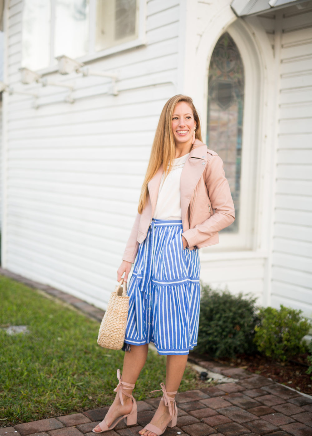 striped j.crew skirt
