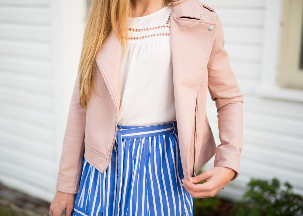blush pink faux-leather jacket
