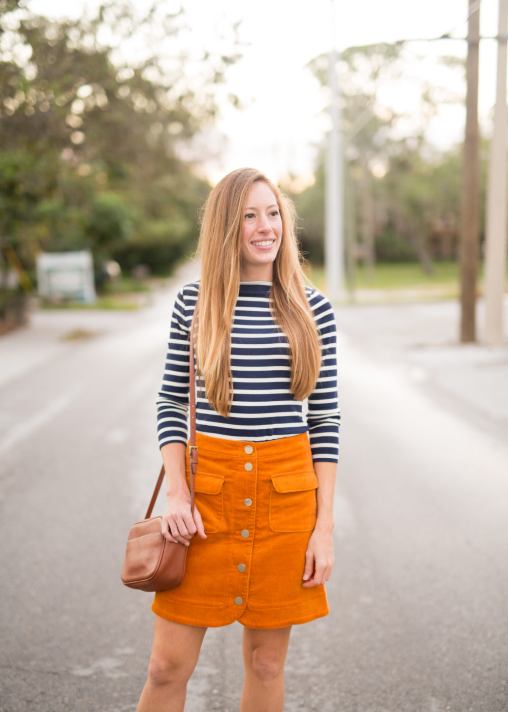 4 Must Have Fall Wardrobe Staples - Striped Shirt, Corduroy Skirt, Ankle Booties and Leather Bag | Sunshine Style