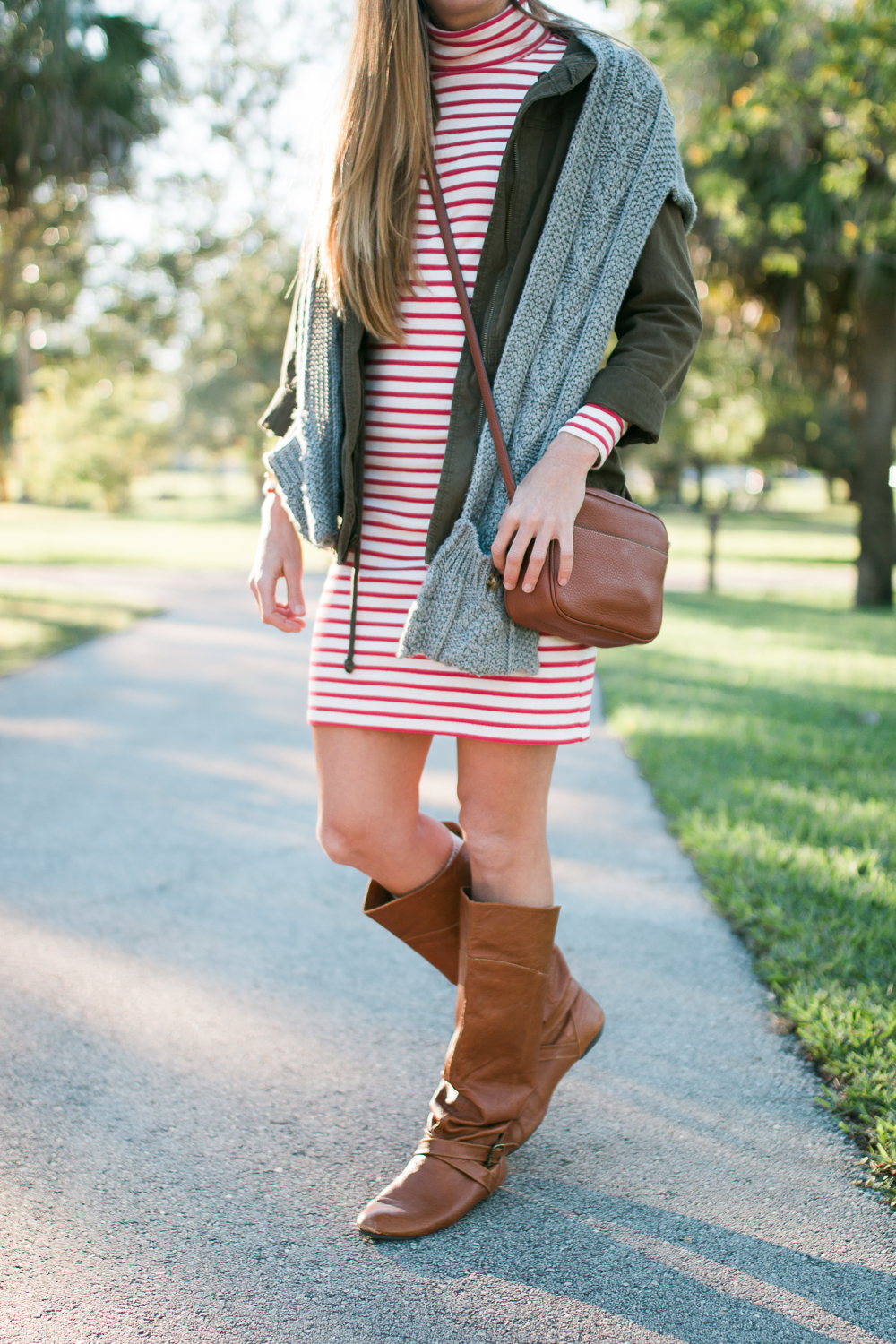 casual christmas day outfit striped dress