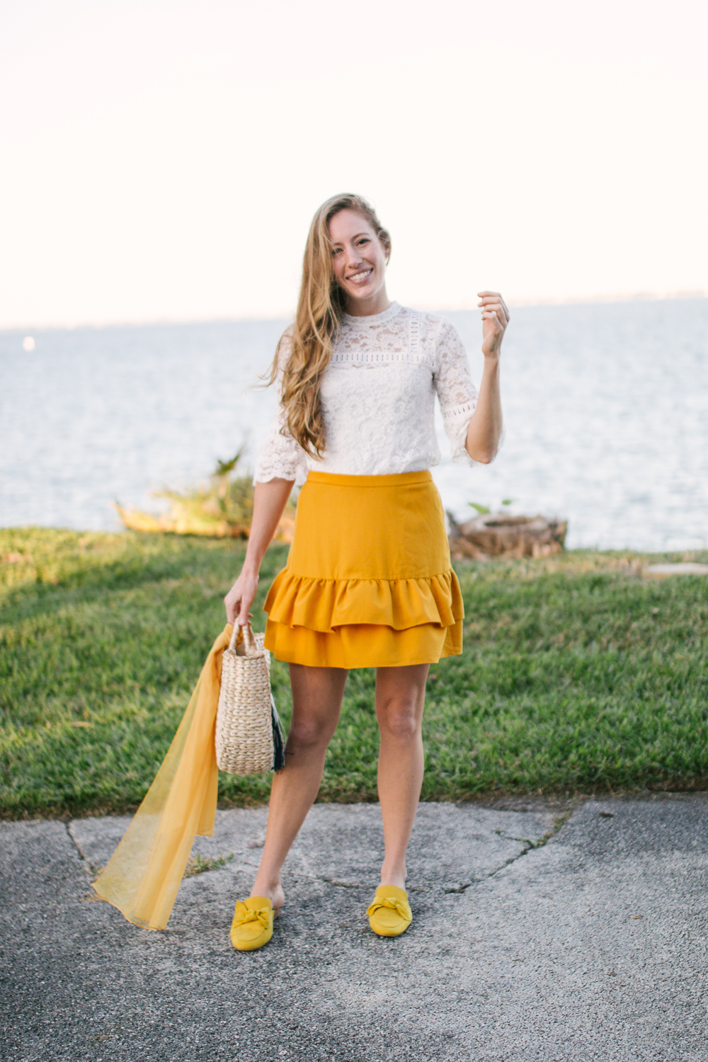yellow jcrew ruffle skirt
