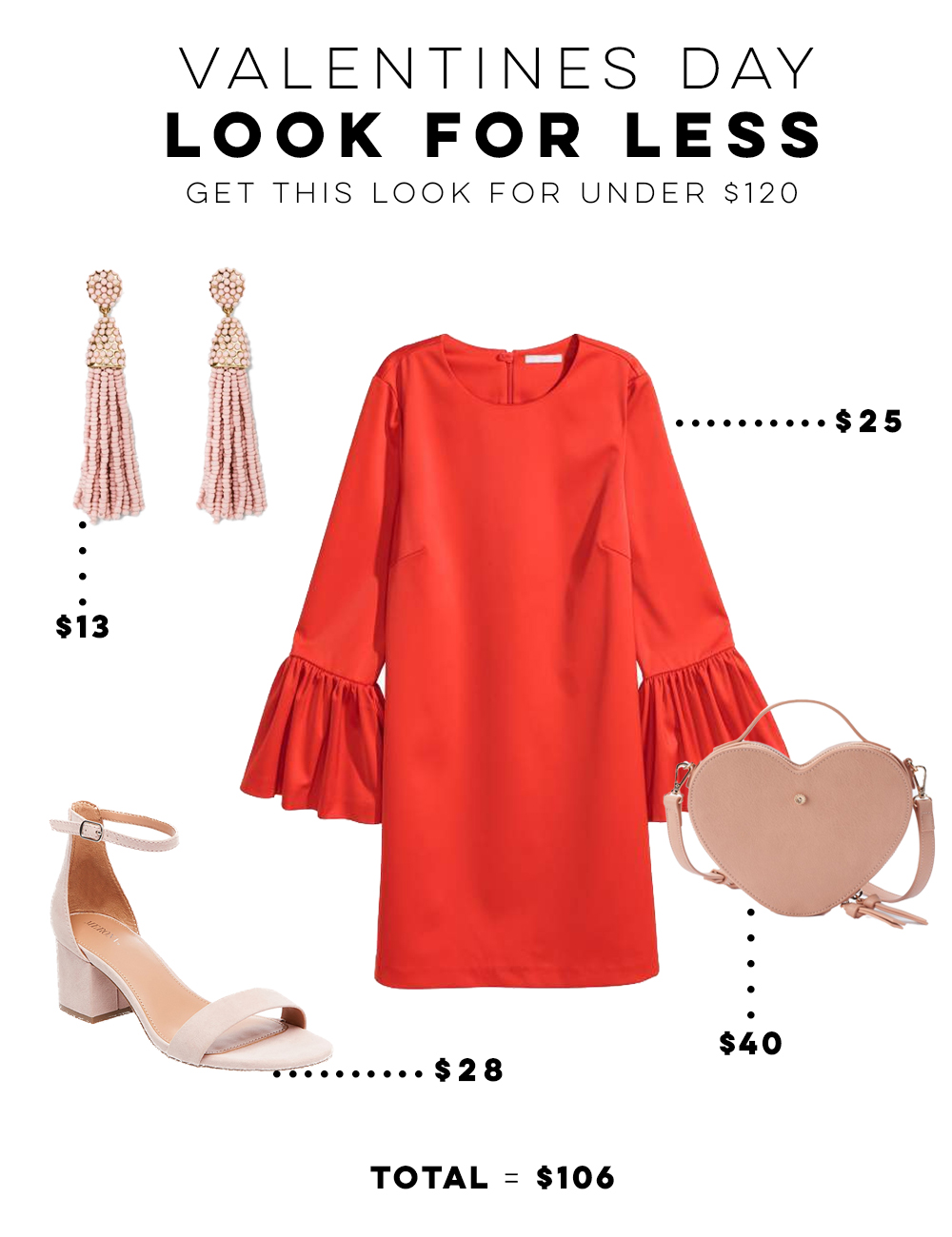 Valentines Day Look for Less Under $120 - H&M Red Dress + Blush Pink Accessories