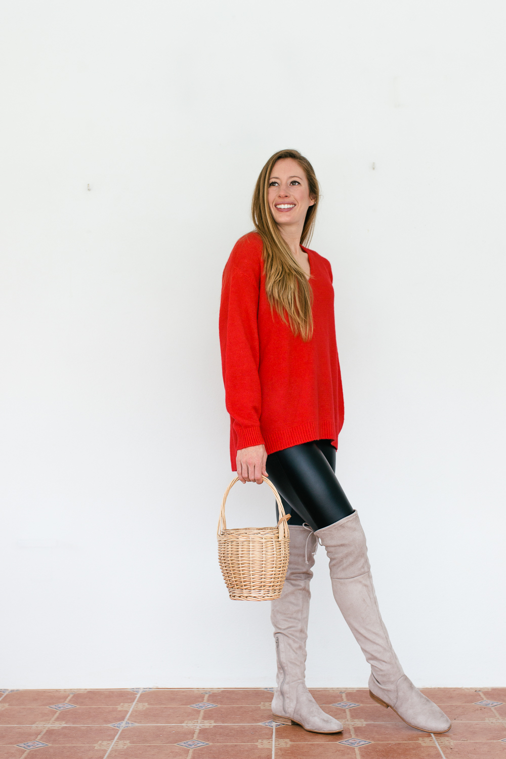 The Secret to Styling Faux-Leather Pants in the Winter - Red Sweater with Over the Knee Boots