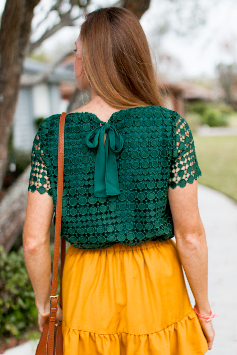Mixing and Matching Seasonal Colors into Your Wardrobe | How to Dress for Fall | How to Incorporate Fall Colors in Your Wardrobe | Fall Outfit Ideas 2018 | Mustard Ruffle Skirt | Emerald Top with Bow Tie - Sunshine Style