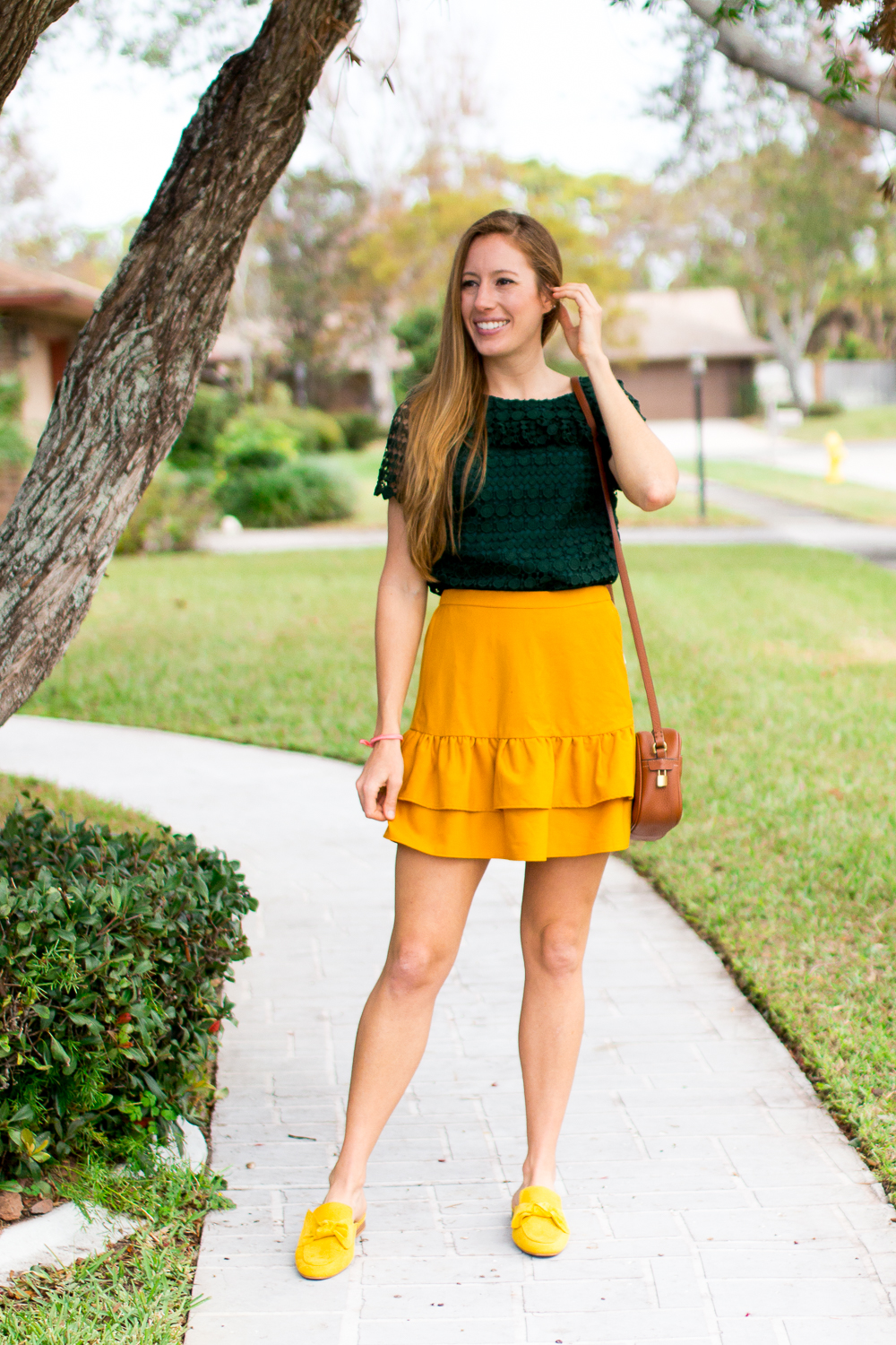 Mixing and Matching Seasonal Colors into Your Wardrobe | How to Dress for Fall | How to Incorporate Fall Colors in Your Wardrobe | Fall Outfit Ideas 2018 | Mustard Ruffle Skirt | Emerald Top | Mustard Loafer | Leather Bag - Sunshine Style