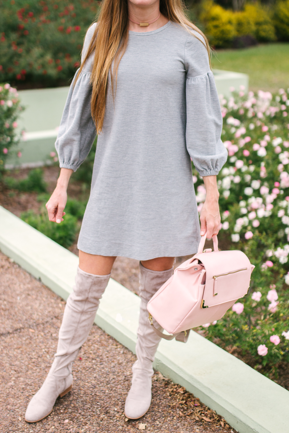 10 Simple Dresses to Wear with Boots, Cold Weather Outfit Inspiration, Over the Knee Boot  | Sunshine Style