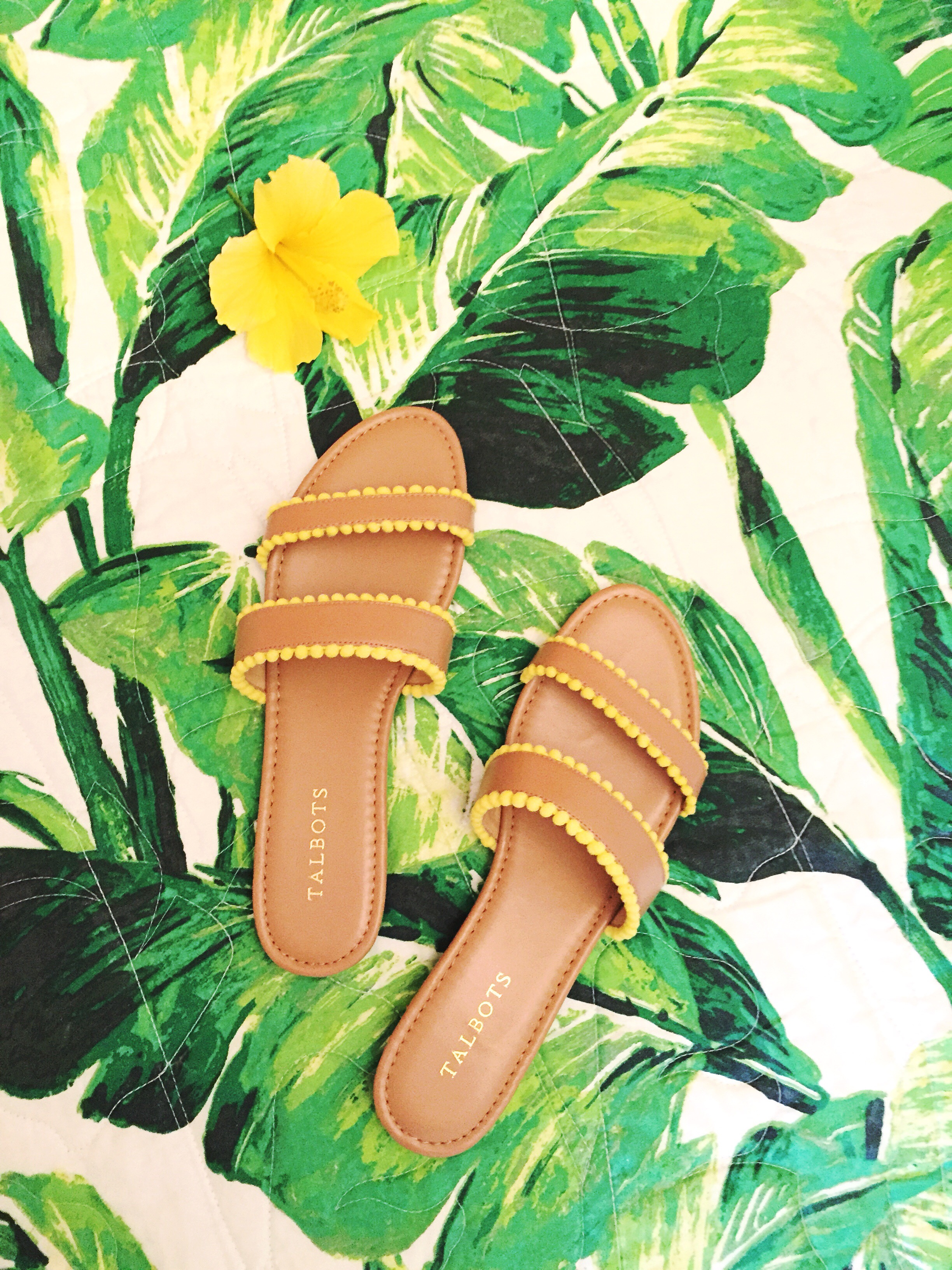 Talbots Yellow Pom Pom Sandal for Summer