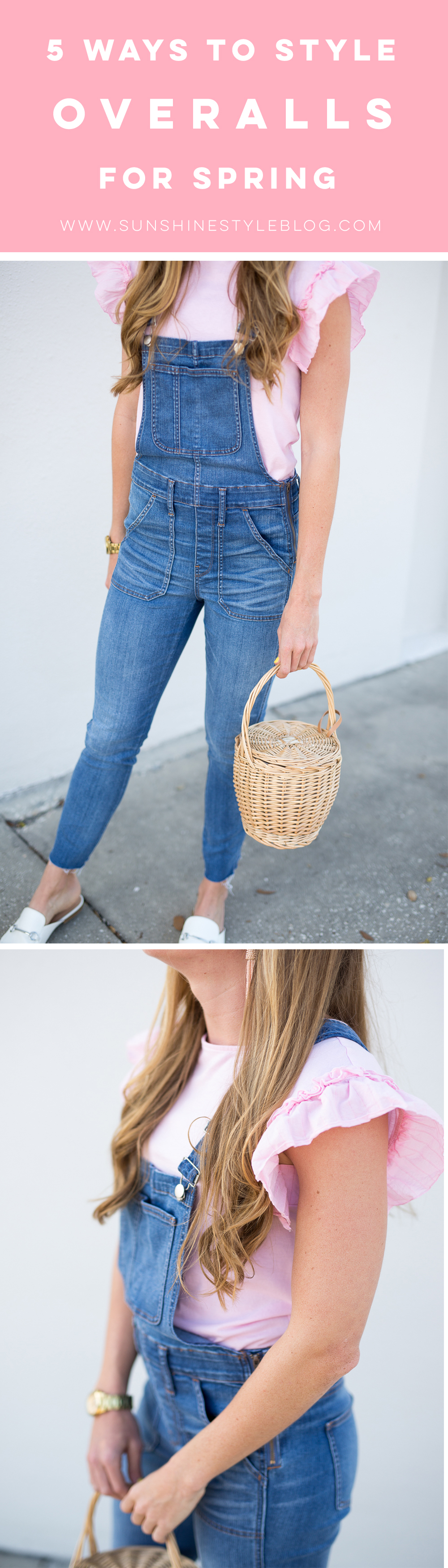 5 Ways to Style Denim Overalls for Spring, Wearing Madewell Overalls, Target Top and Loafers and a Basket Bag - Sunshine Style