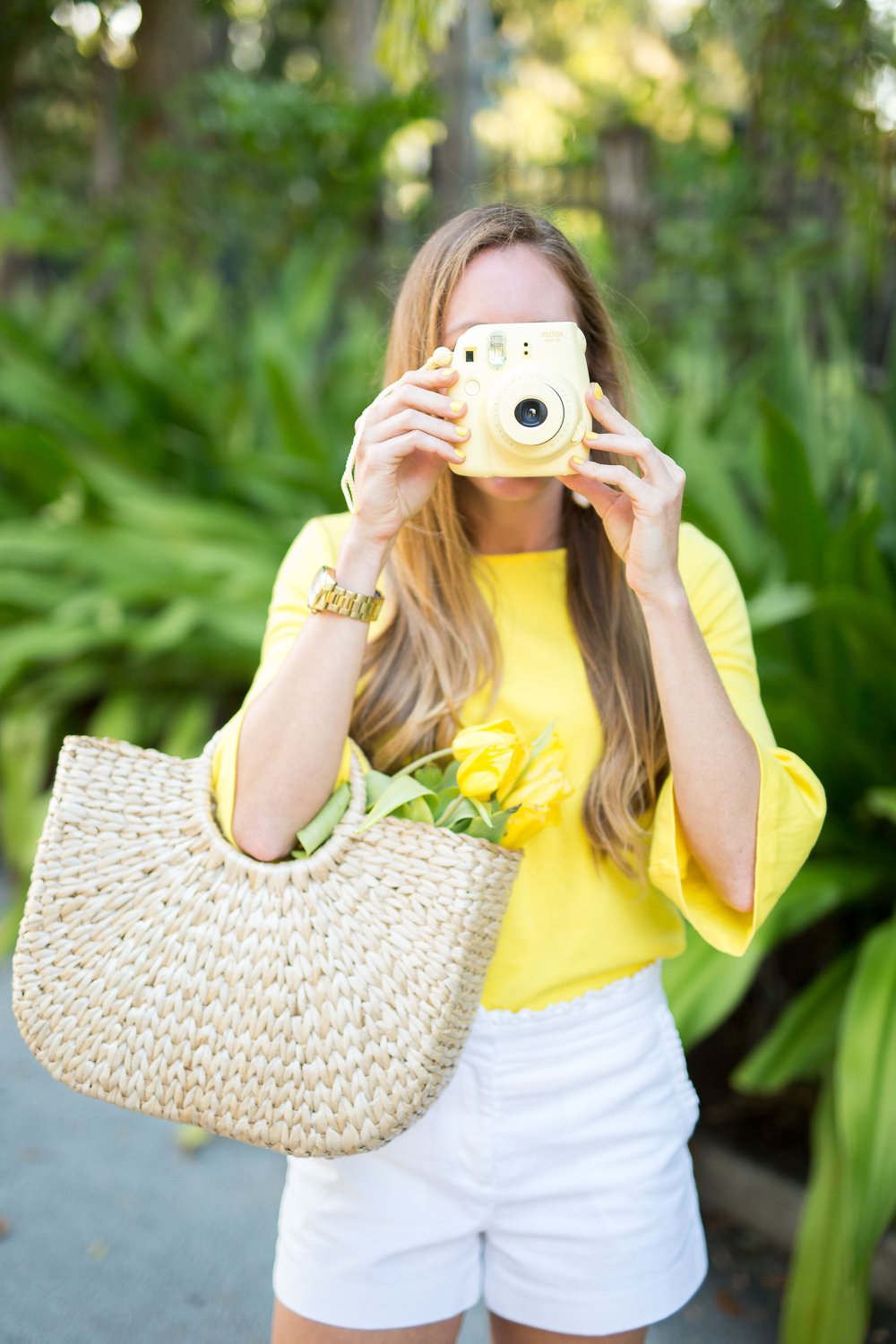 Classic Spring Outfit Idea - Yellow Top, Tulips, Instax Camera