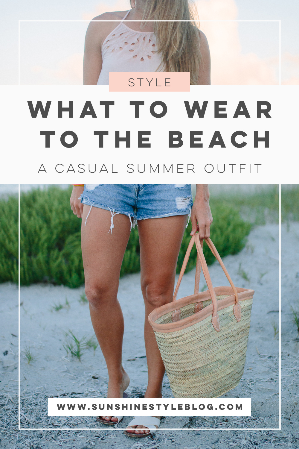 What to Wear to the Beach: A Casual Summer Outfit featuring an Aerie Crop Top, Denim Shorts, Sandals, Statement Earrings and a Beach Bag | Sunshine Style