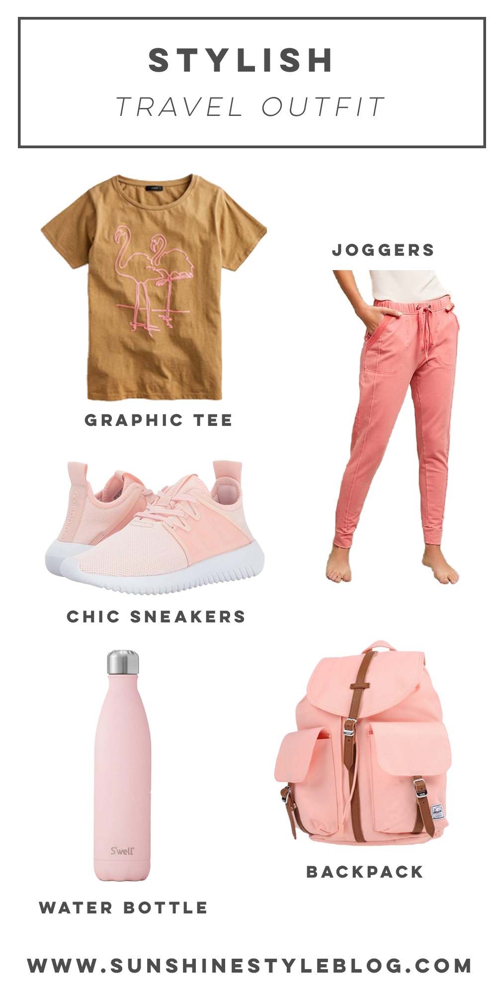 What to Wear When Traveling: A Stylish Travel Outfit Featuring Anthropologie Joggers, Swell Water Bottle, J.Crew T-Shirt, Adidas Sneakers and Aerie Sweatshirt