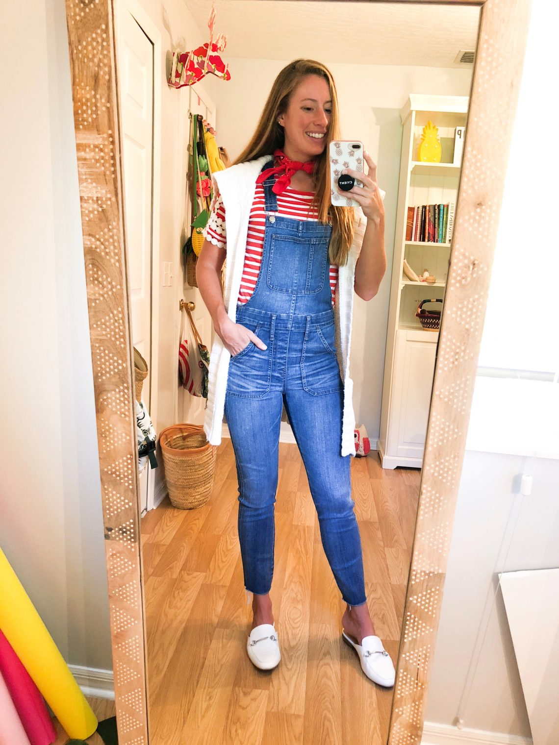 3 Ways to Style Overalls for Fall - Striped Top, Colored Sweater and a Blouse | Sunshine Style