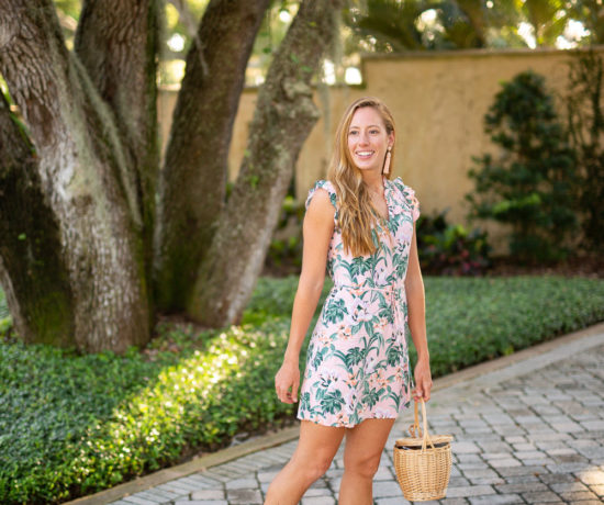 Floral Dresses to Wear to a Wedding, LOFT Dress, Target Block Heels, Straw Bag, Statement Earrings | Sunshine Style