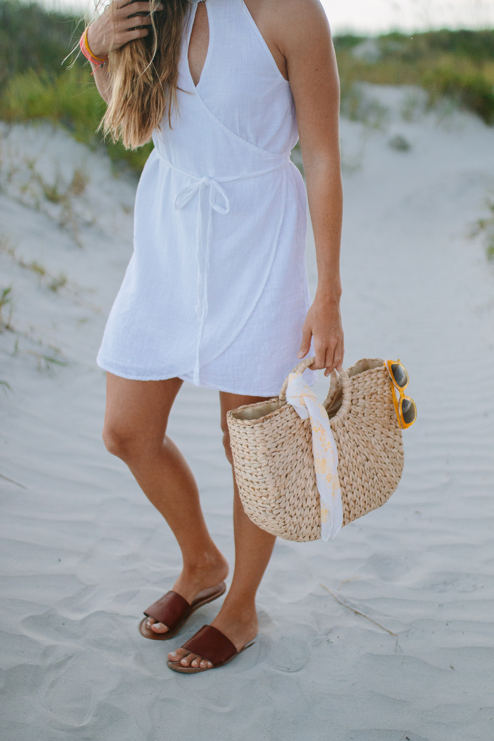White Billabong Wrap Sundress with Straw Bag for Beach | Sunshine Style