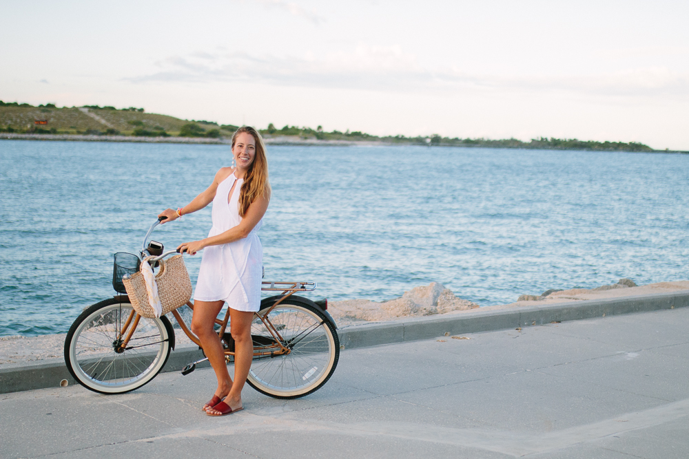 White Sundresses for Summer Vacations, Bike Riding on the Beach | Sunshine Style