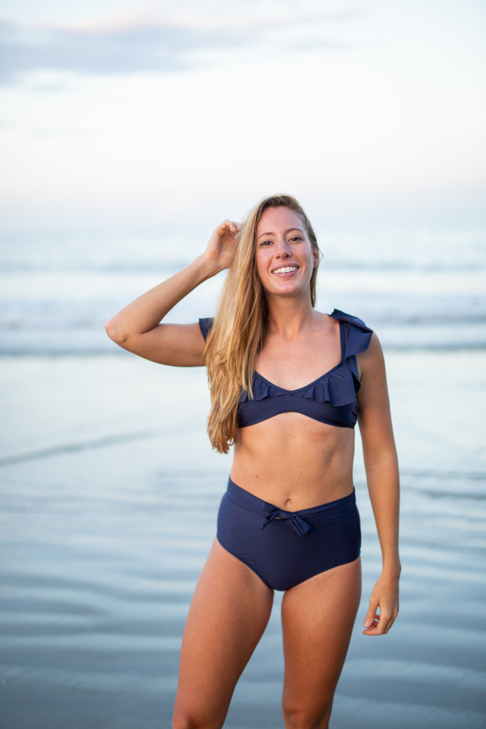 The Most Flattering High Waisted Swimsuit Ever - Naurical Inspired Ruffle Swimsuit, Best End of Summer Swimsuit Sales | Sunshine Style