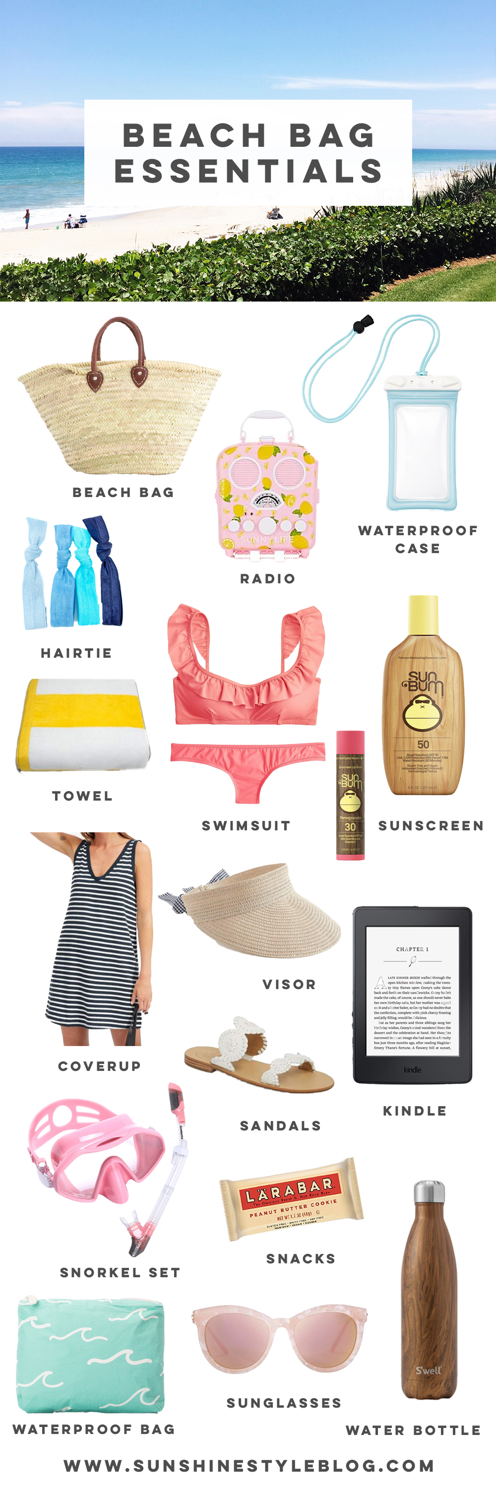 What to Pack in a Beach Bag: 20 Beach Essentials for your next tropical vacation, includes a FREE Packing list | Sunshine Style