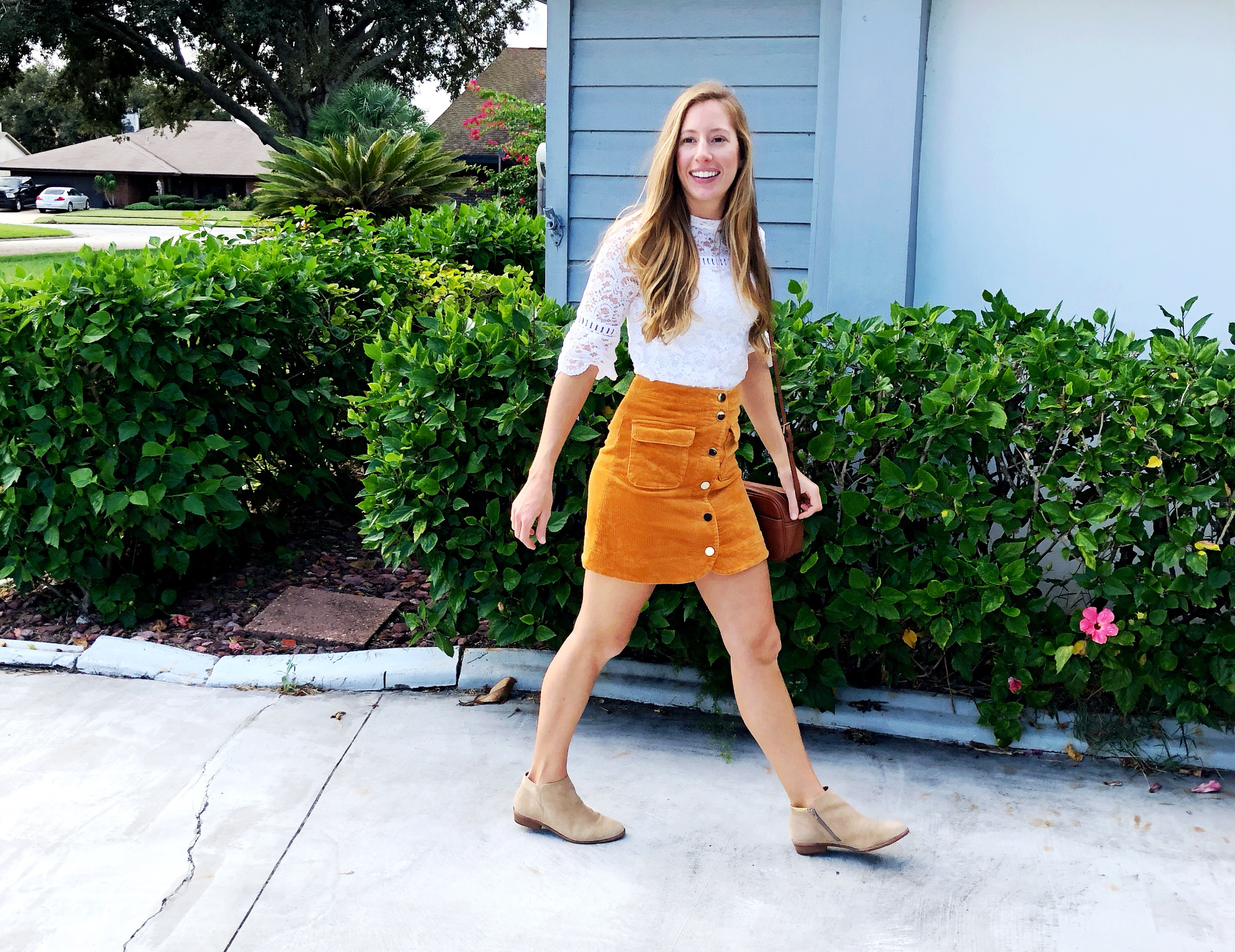 How to Style a Lace Top for Fall | How to Wear a Lace Top for Fall | Suede Skirt | Corduroy Skirt | How to Dress for Fall in Warm Weather - Sunshine Style