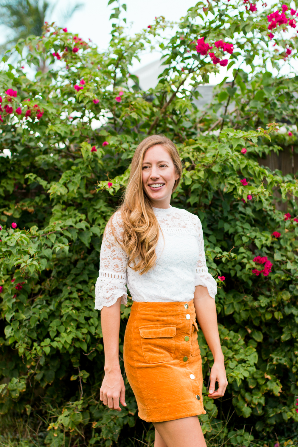 How to Style a Lace Top for Fall | How to Wear a Lace Top for Fall | Suede Skirt | Corduroy Skirt | How to Dress for Fall in Warm Weather | Fall Outfit Idea | Corduroy Button Up Skirt - Sunshine Style, Florida Fashion Blog