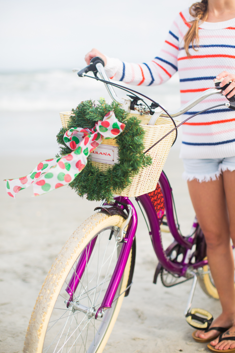 Christmas Wreath on a Bike | Beach Bike Ride | Striped Sweaters to Wear During the Winter