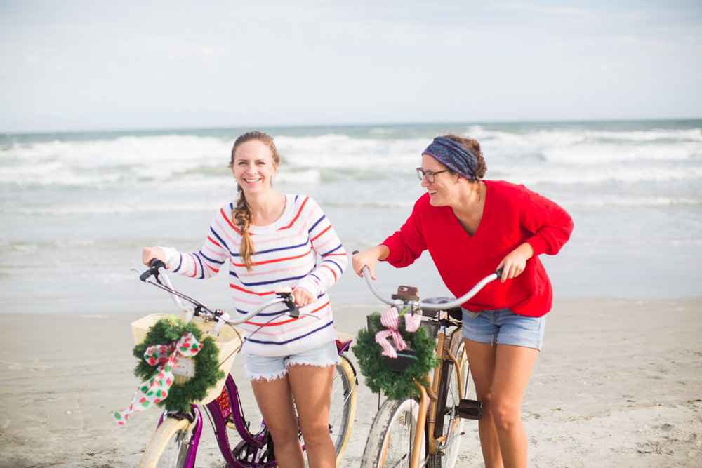Striped and Solid Sweaters for the Winter | Beach Bike Ride | Sweaters to Wear During the Holidays | Christmas in Florida | Christmas Bike Ride