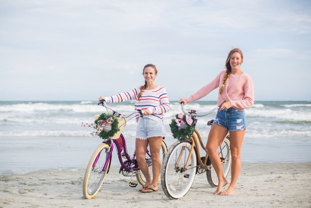 Sweaters to Wear During the Holiday Season | Beach Bike Ride | Winter Outfit Ideas | Christmas in Florida | Beach Bike Ride | Cropped Sweater | Striped Sweater