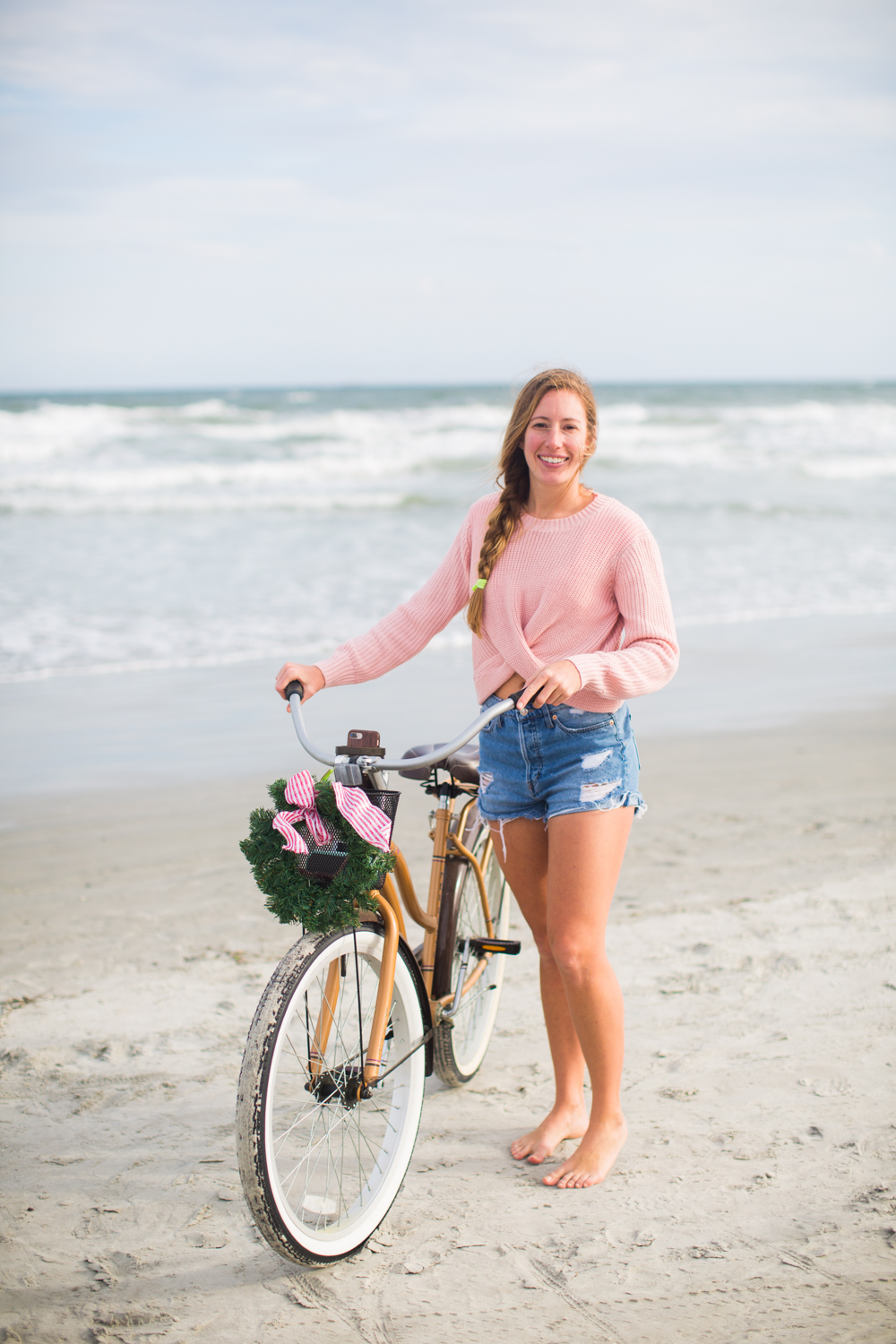 Sweaters to Wear During the Holiday Season | Beach Bike Ride | Winter Outfit Ideas | Christmas in Florida | Beach Bike Ride | Cropped Pink Sweater | Twisted Back Sweater