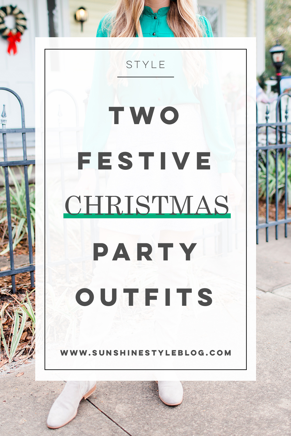 Festive Christmas Party Outfit // What to Wear for a Christmas Party // Christmas Day Outfit // Green Blouse // Grey Over the Knee Boots // LOFT Swing Skirt - More on www.sunshinestyleblog.com #winterfashion #winteroutfits #christmasoutfit #styleinspiration
