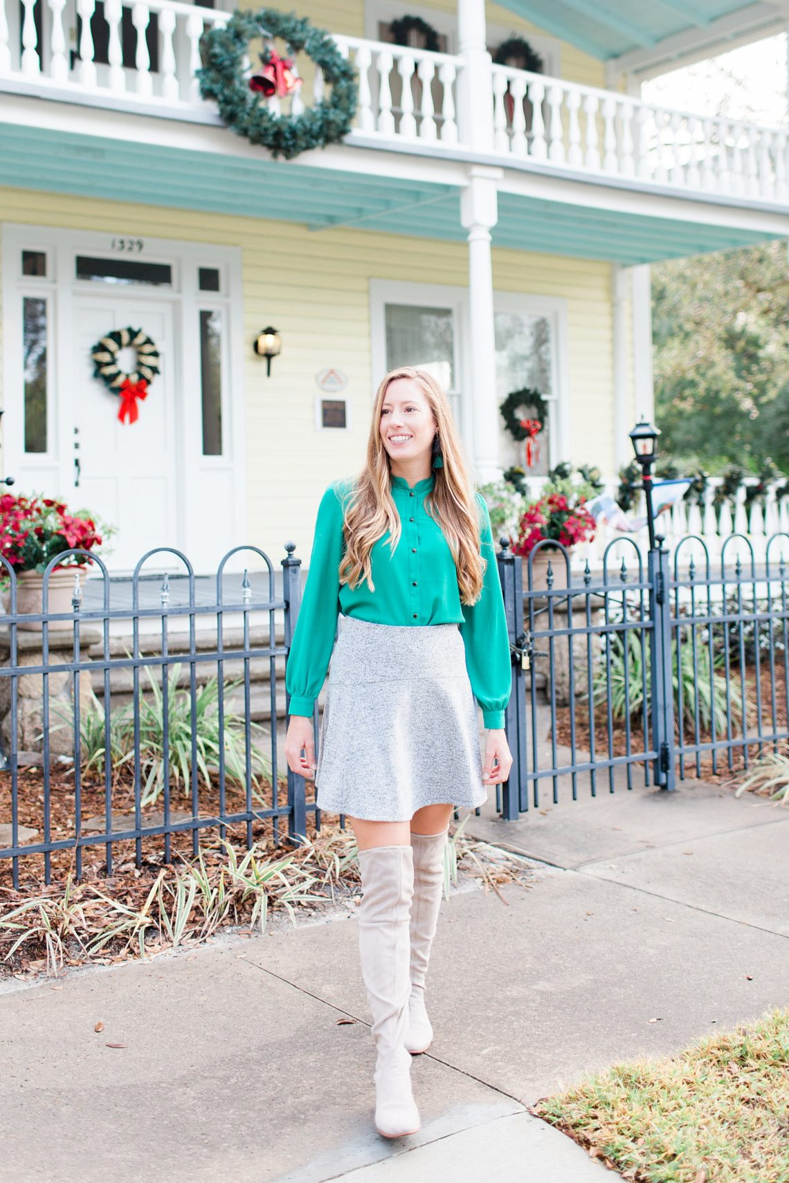 Festive Christmas Party Outfit // What to Wear for a Christmas Party // Christmas Day Outfit // Green Blouse // Grey Over the Knee Boots // LOFT Swing Skirt - More on www.sunshinestyleblog.com