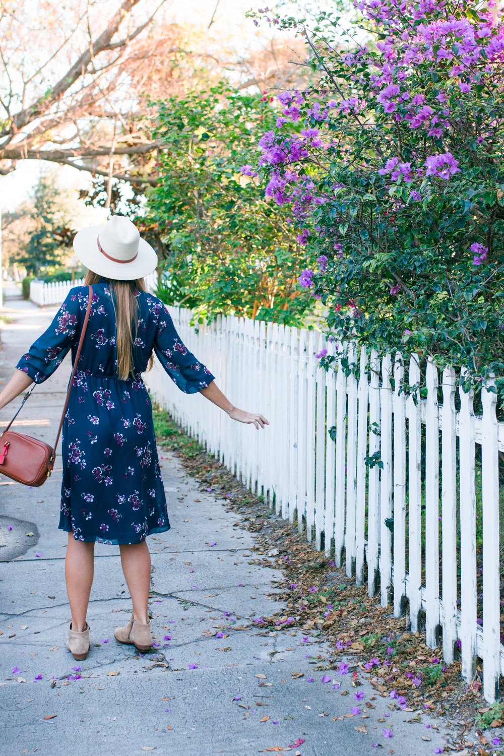 What to Wear in Florida in January / What to Wear in Florida In Dec / What to Wear in Florida During the Winter / Blue Floral Midi Dress // Long Sleeve Midi Dress with Ankle Boots / J.Crew Leather Bag / Panama Hat / Midi Dress for Work / More on www.sunshinestyleblog.com