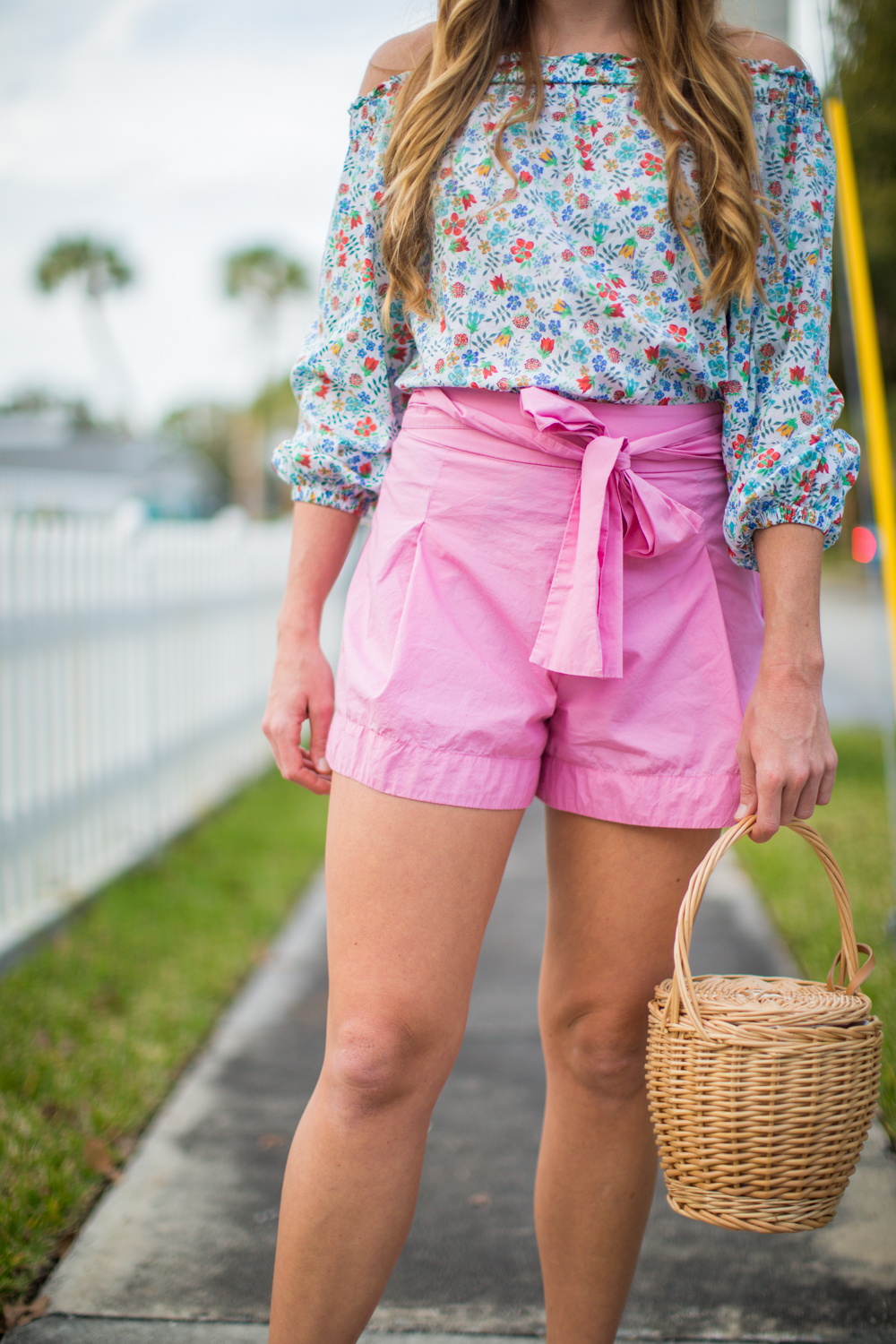 The Cutest Bow Shorts for Spring / An Easy Easter Outfit / Florals for Spring / Spring Outfit Inspiration / J.Crew Floral Top / J.Crew Tie Bow Shorts / Basket Bag - Sunshine Style