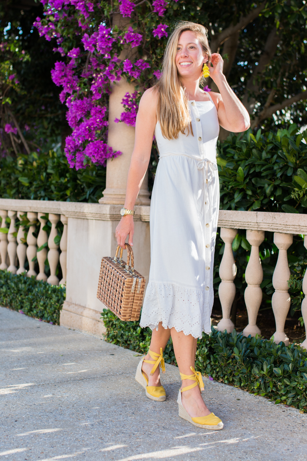 White Button Front Midi Dress for Summer | White Summer Dresses | How to Style a Midi Dress | What to Wear on a Beach Vacation | Warm-Weather Style | West Palm Beach, Florida - Sunshine Style