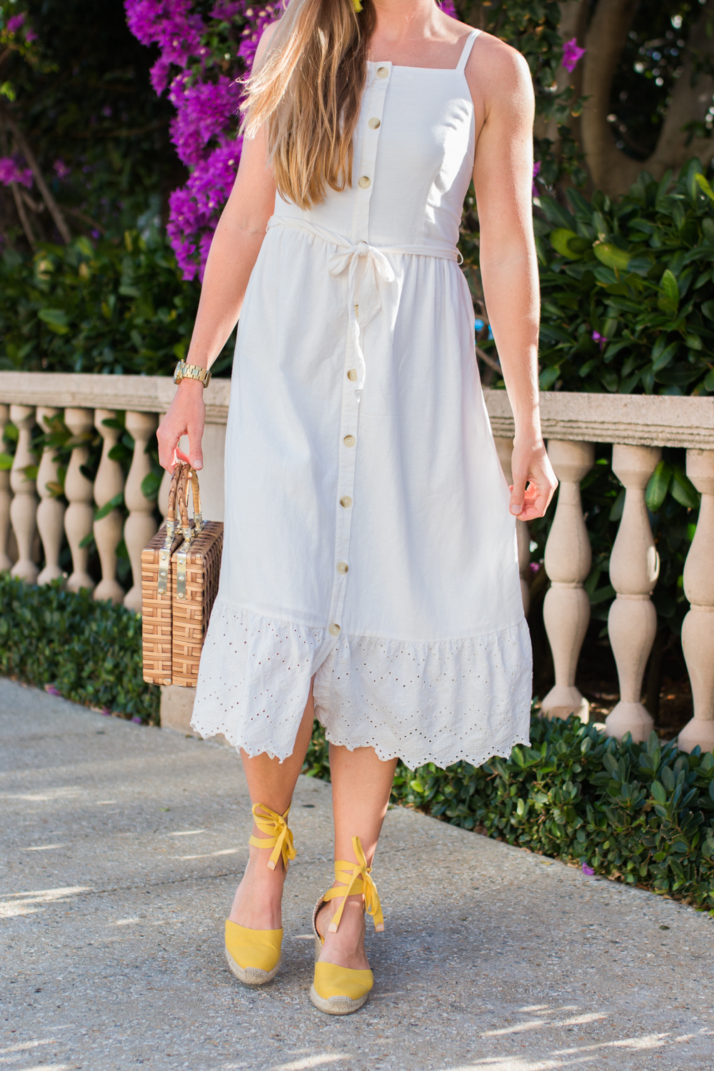 White Button Front Dress for Summer | White Summer Dresses | How to Style a Midi Dress | What to Wear on a Beach Vacation | Old Navy Dress | Castaner Espadrilles | West Palm Beach, Florida - Sunshine Style