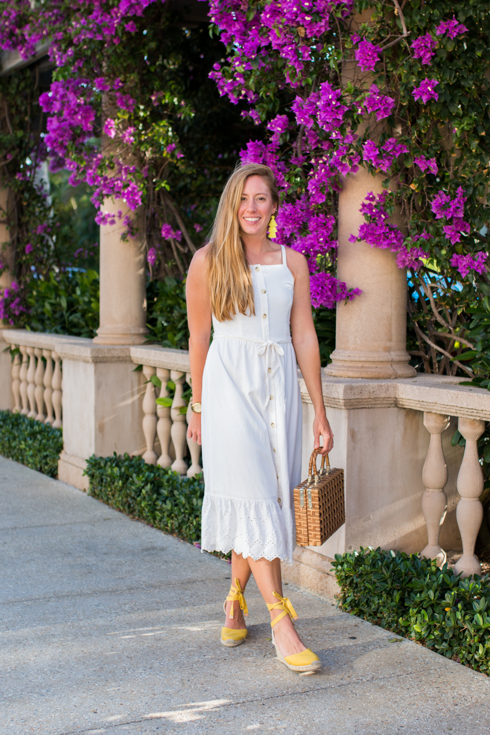 White Button Front Midi Dress for Summer | White Summer Dresses | How to Style a Midi Dress | What to Wear on a Warm-Weather Tropical Destination | What to Wear in West Palm Beach, Florida - Sunshine Style