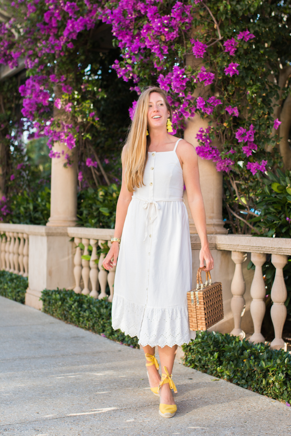 White Button Front Midi Dress for Summer | White Summer Dresses | How to Style a Midi Dress | What to Wear on a Beach Vacation | West Palm Beach, Florida - Sunshine Style