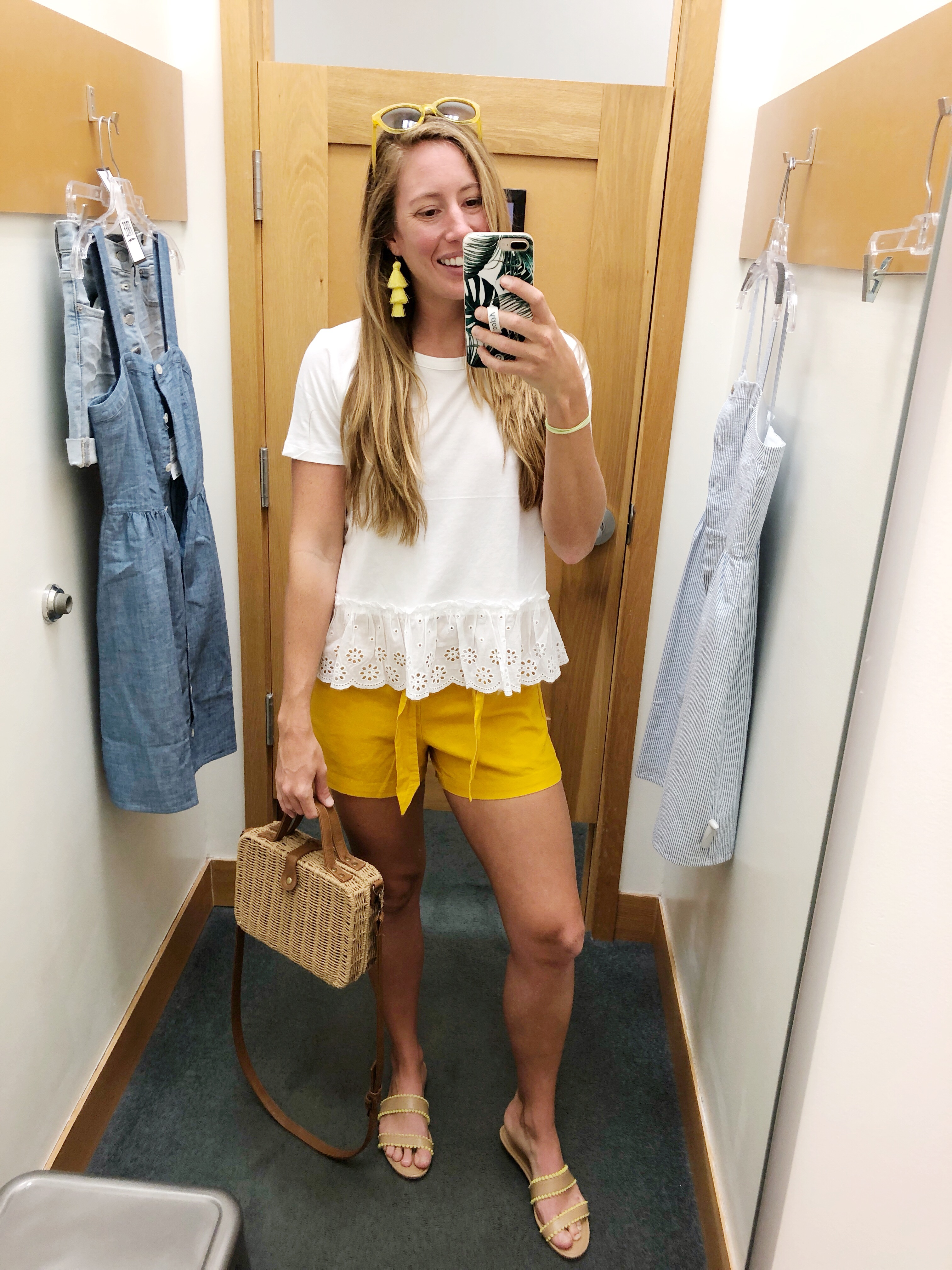 White Peplum T-Shirt Top J.Crew Factory, Yellow Tie Shorts / Sunshine Style - A Florida Fashion Blog