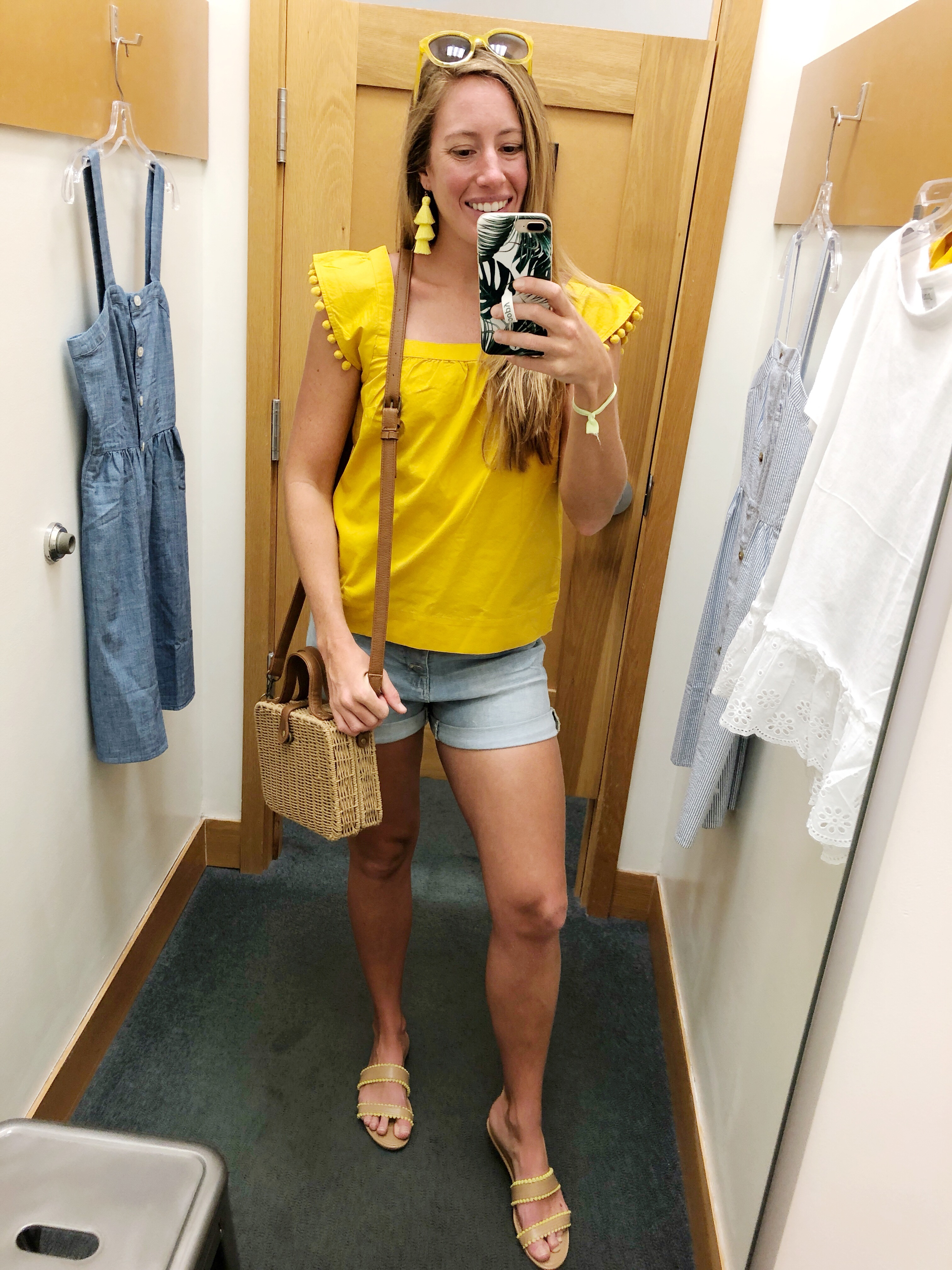 Yellow Pom Pom Top J.Crew Factory, Sunshine Style - A Florida Fashion Blog