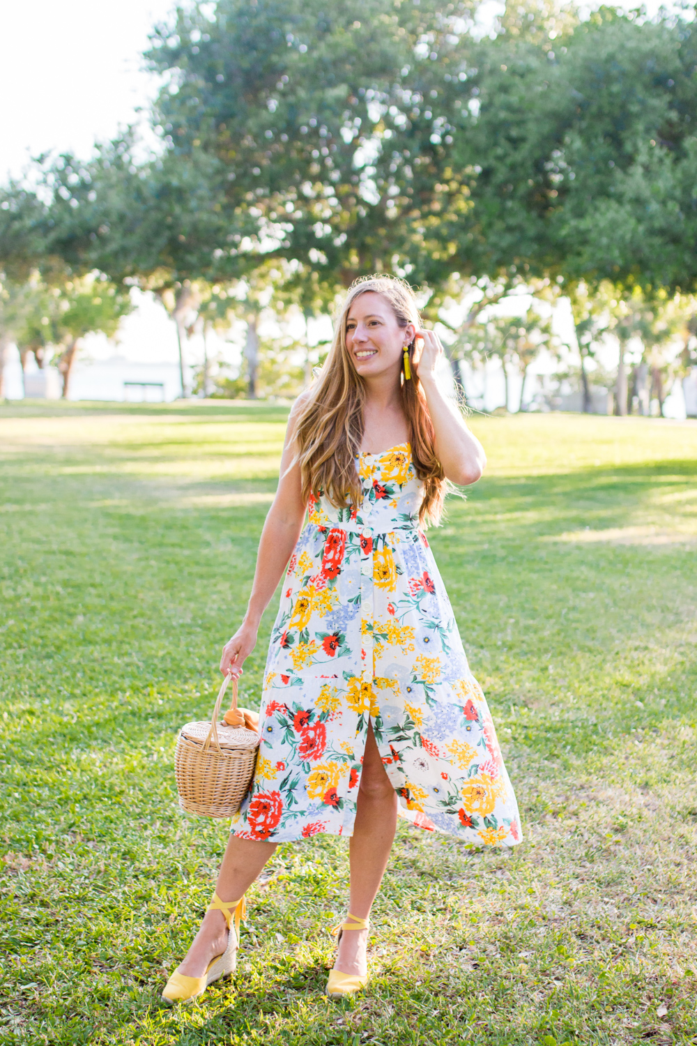 Floral Midi Dress for Summer - Sunshine Style