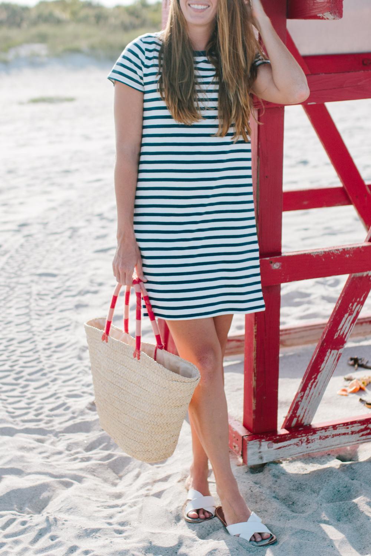 J.Crew Factory Striped T-Shirt Dress, Straw Beach Bag - Sunshine Style