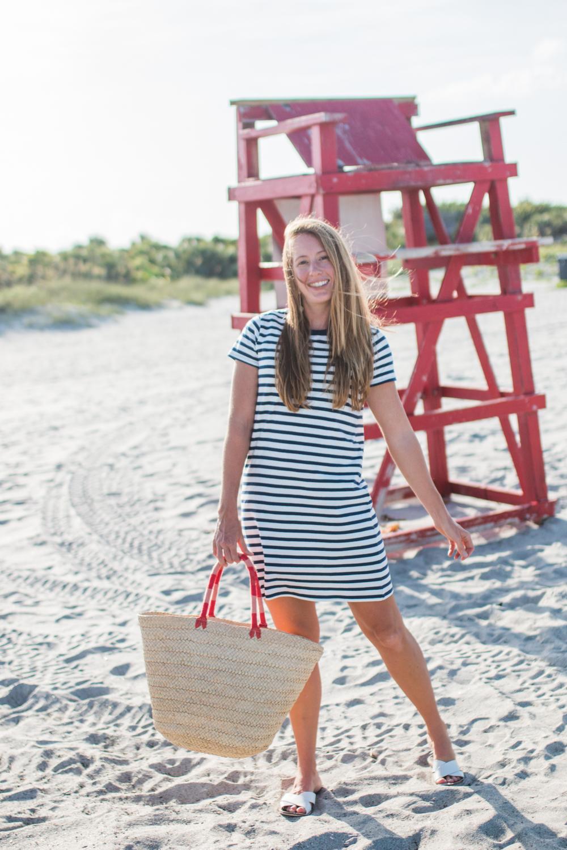 J.Crew Factory Striped T-Shirt Dress, Beach Cover Up - Sunshine Style