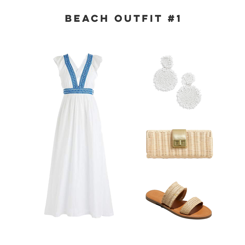 Three Easy Beach Vacation Outfits, Maxi Dress, Straw Bag, Statement Earrings, Woven Sandals - Sunshine Style